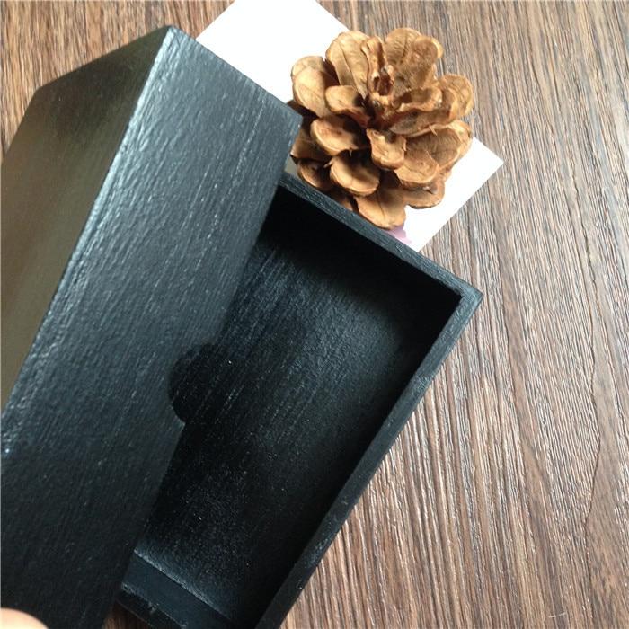 863 Mini Caja De Madera Pintada De Color Negro Para Tarjetas De Visita Regalo De Joyería Con Cubierta Tamaño Interno Puede Personalizar Cualquier