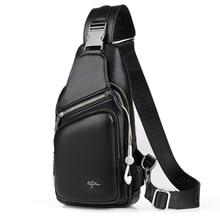 Bolso de pecho impermeable de cuero para hombre, bolsa de mensajero informal con orificio para carga de auriculares USB, bolso cruzado, riñonera