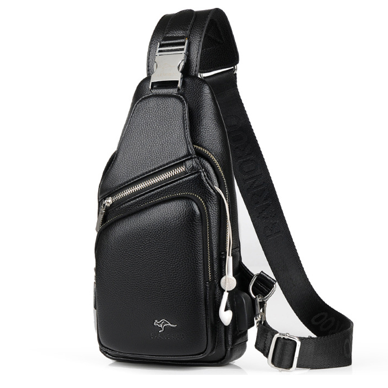 Men Chest Bag Leather Waterproof With USB Charging Earphone Hole Casual Messenger Shoulder Bag For Male Crossbody Bag Waist Pack