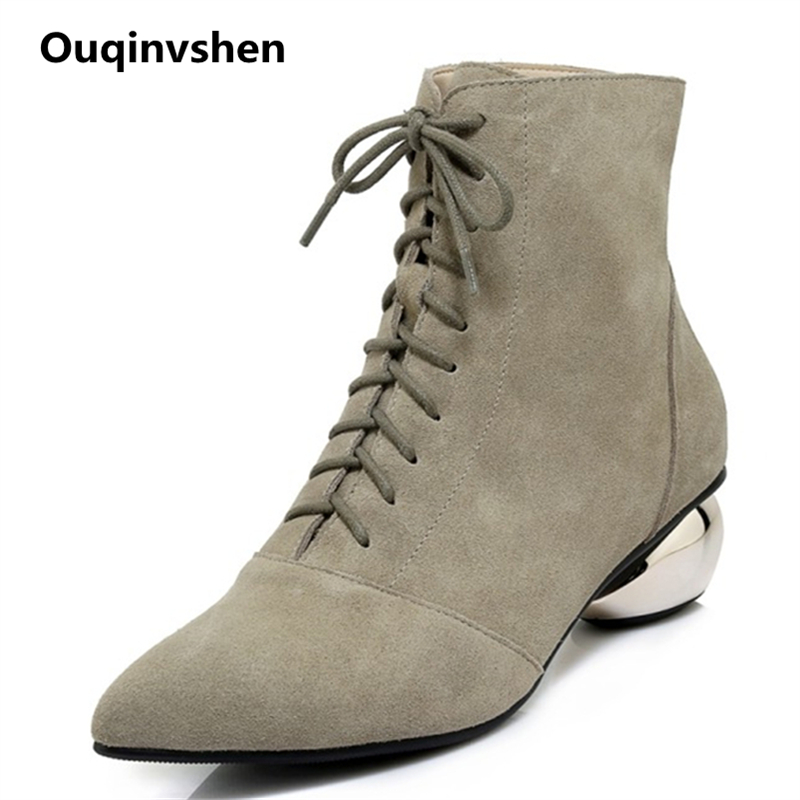 Ouqinvshen Strange Style Ankle Boots Women Pointed Toe Cow Suede Autumn Fashion Elegant Women Winter Shoes Strange Style Pumps elegant women s round toe pumps with stiletto and suede design