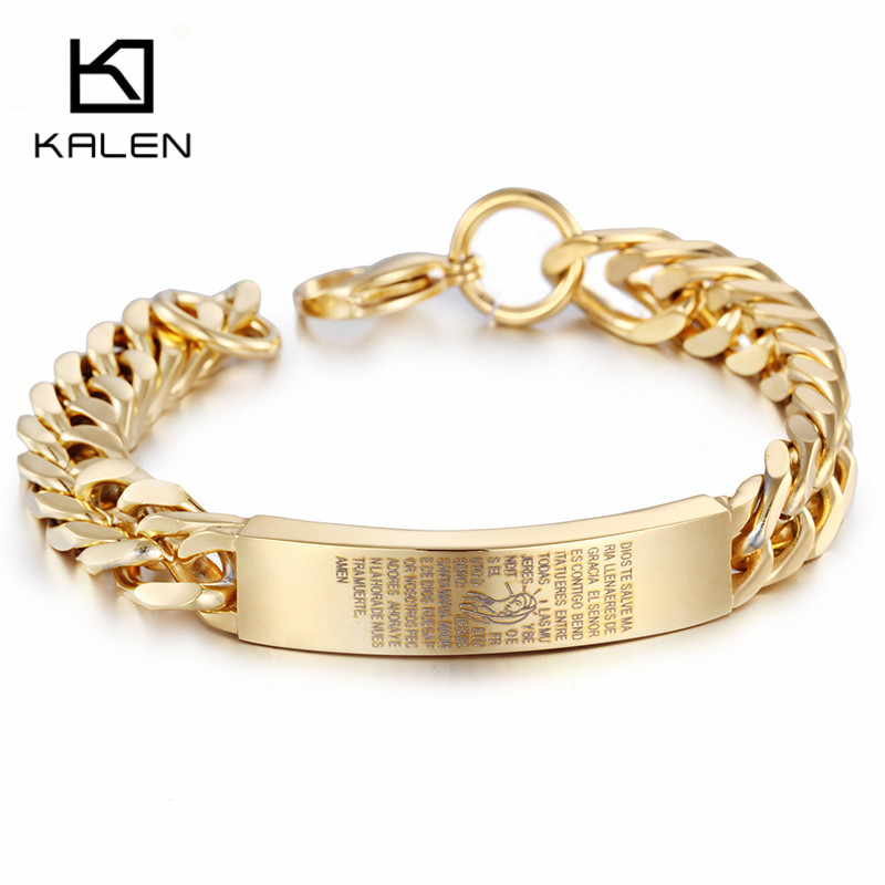 Kalen New 21cm Gold Color Link Chain Bracelet Virgin Mary Sculpture Religious Stainless Steel Uni In Bracelets From