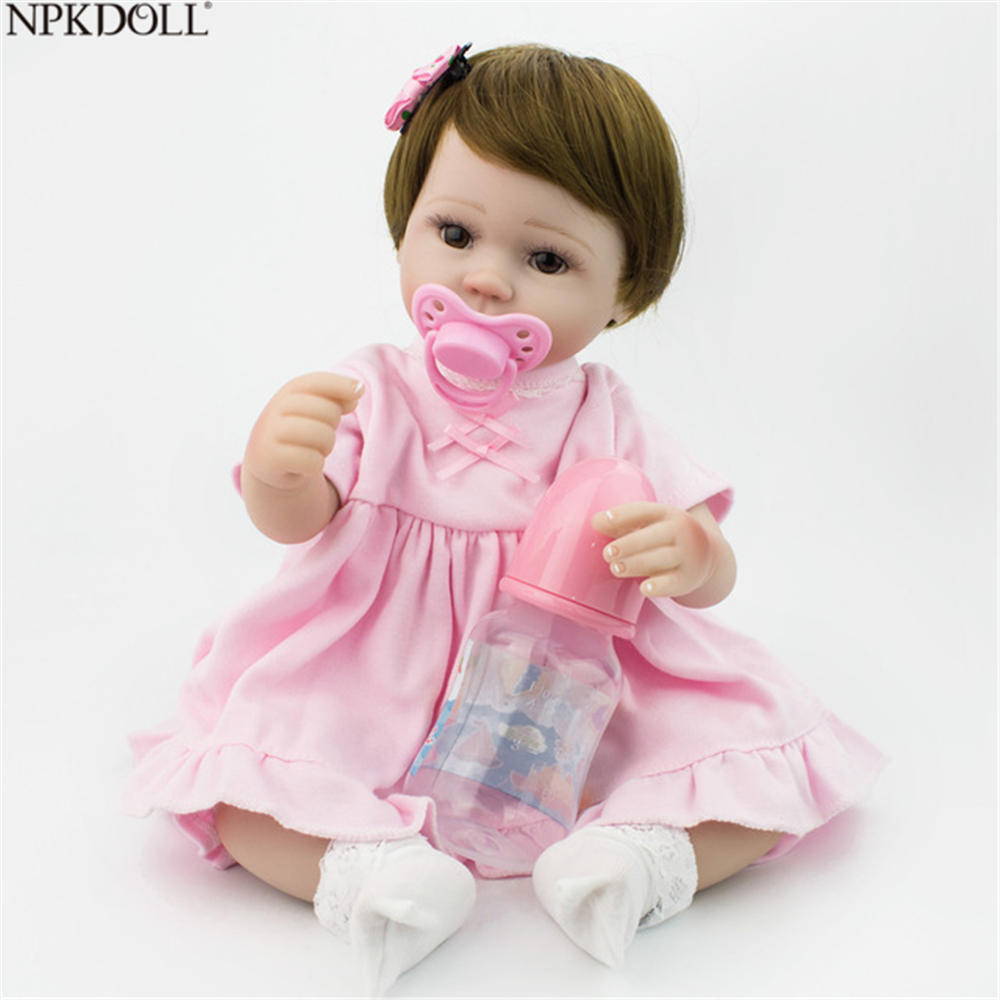 NPKDOLL 40 cm Silicone Reborn poupées Babie filles jouets prix peluche poupée en peluche belle anniversaire cadeau jouets éducatifs 16 pouces