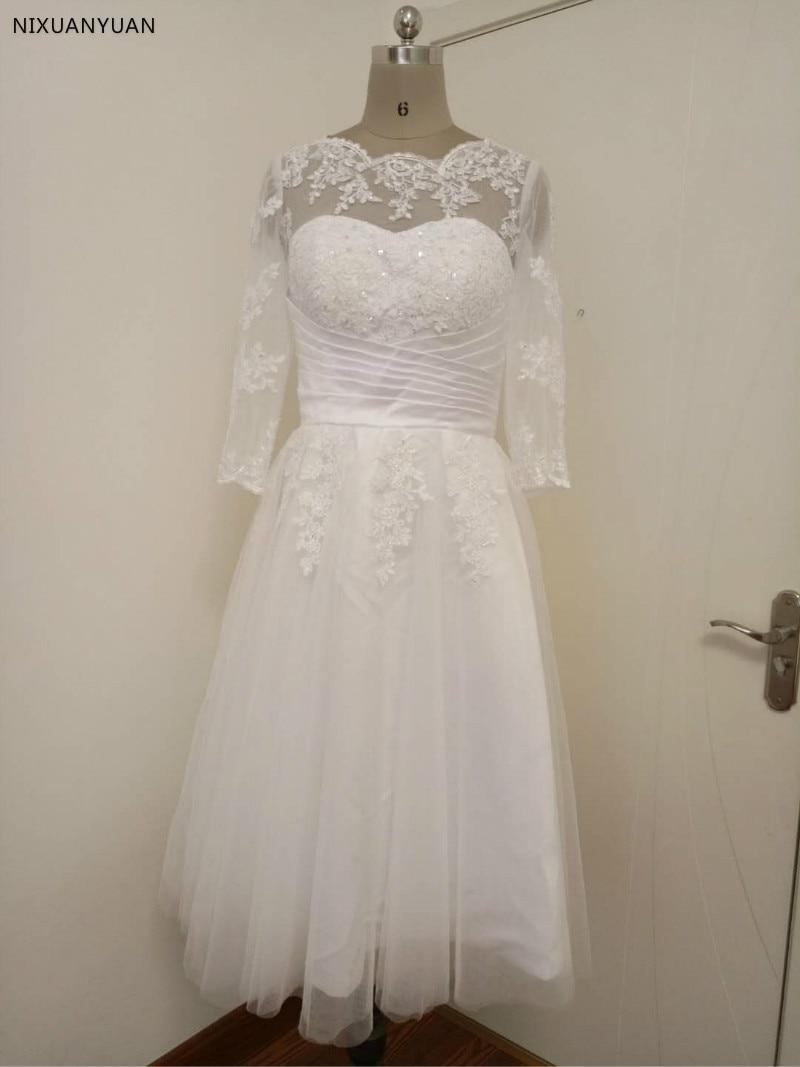 Vestido De Noiva Curto Vintage Ivory Tea Length Long Sleeve Wedding Dress Lace 2020 Wedding Gowns Scoop Short Bridal Dresses