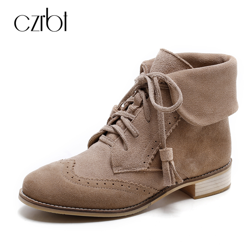 CZRBT Genuine Leather Riding Boots Women Ankle Boots Plus Size Women Shoes Solid Color Fringe Lace-Up Flat Heel Boots For Woman rubber cement euro winter shoes woman sleeve side zip chains riding genuine leather boots women solid color cowhide flat with
