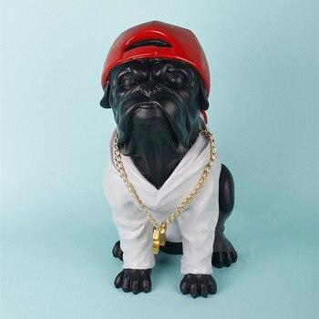 French Bulldog Statue Animal Cute Dog Figurine Sculpture Resin Art&Craft Home Ornaments Decoration L3412