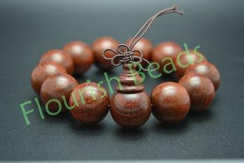 High quality 18mm Pterocarpus Santalinus Wood Round Beads Mala Prayer Man Bracelet