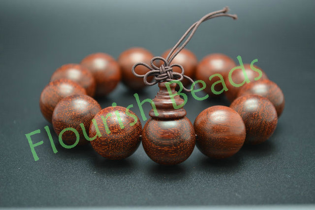 High quality 18mm Pterocarpus Santalinus Wood Round Beads Mala Prayer Man Bracelet