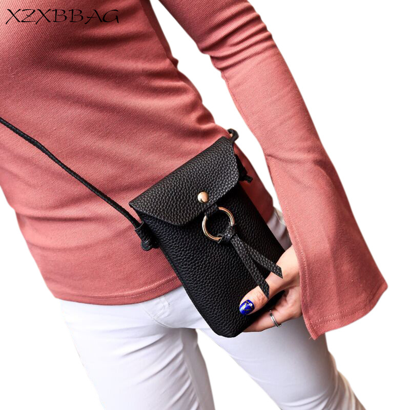 XZXBBAG Women PU Leather Messenger Bags Mini Cell Phone Pocket Cellphone Pouch Students Crossbody Case Girl Small Shoulder Bags