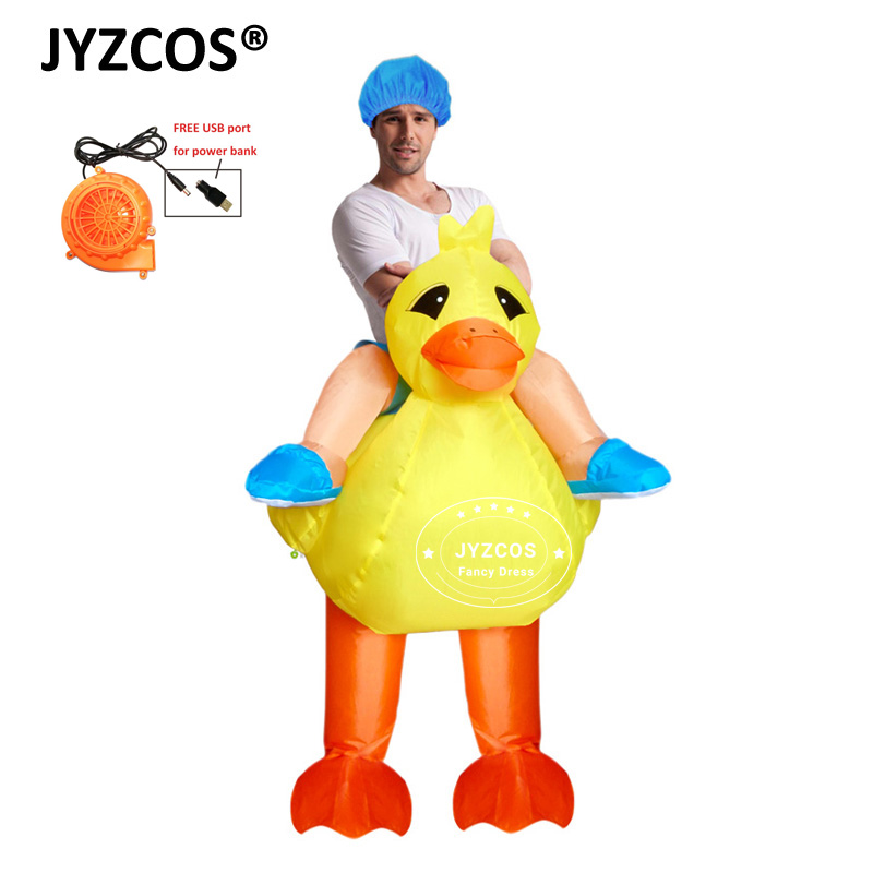 JYZCOS Adults Kids Inflatable Yellow Duck Costume Cosplay Dance Party Club Bar Animal Halloween Blow up Costume for Men Boy girl