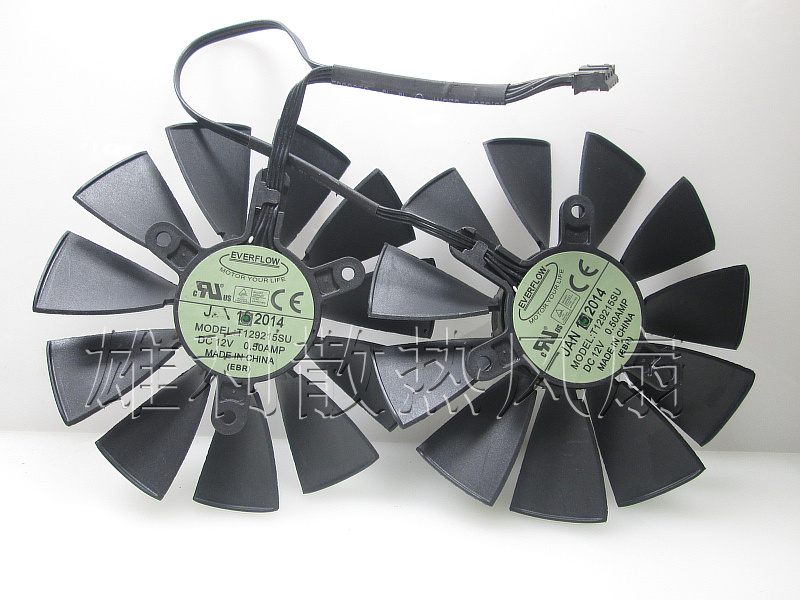 Free Delivery.T129215SU 12V graphics card cooling fan 0.50A pair of fans 4pin mgt8012yr w20 graphics card fan vga cooler for xfx gts250 gs 250x ydf5 gts260 video card cooling