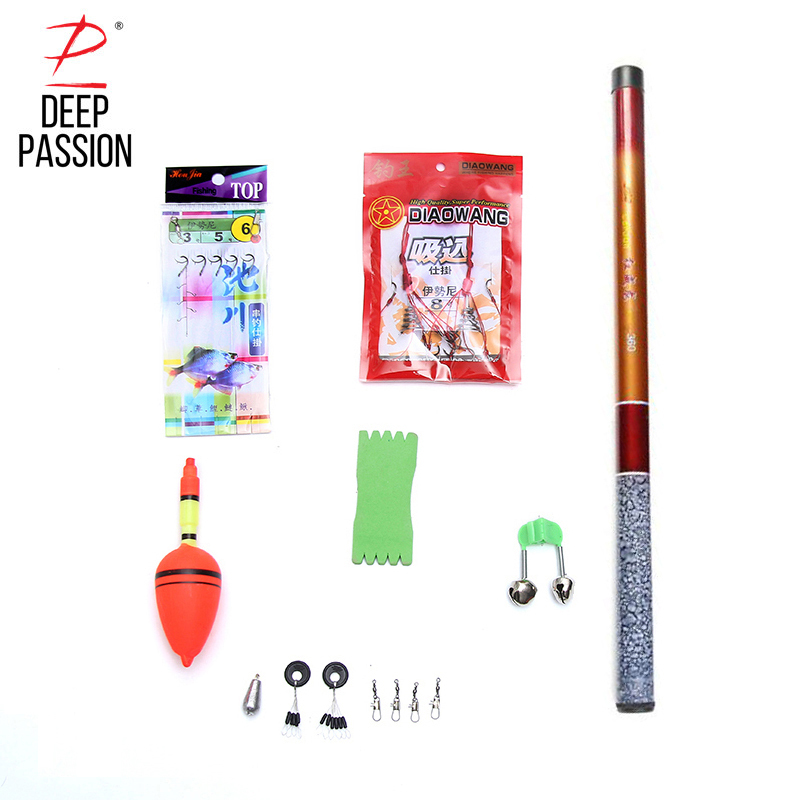DEEP PASSION 9PC Mini Stream Fishing Rod Set Pole Portable Telescopic Stick Carp Pole Pesca Stream Fishing Pole Mini Fishing Rod
