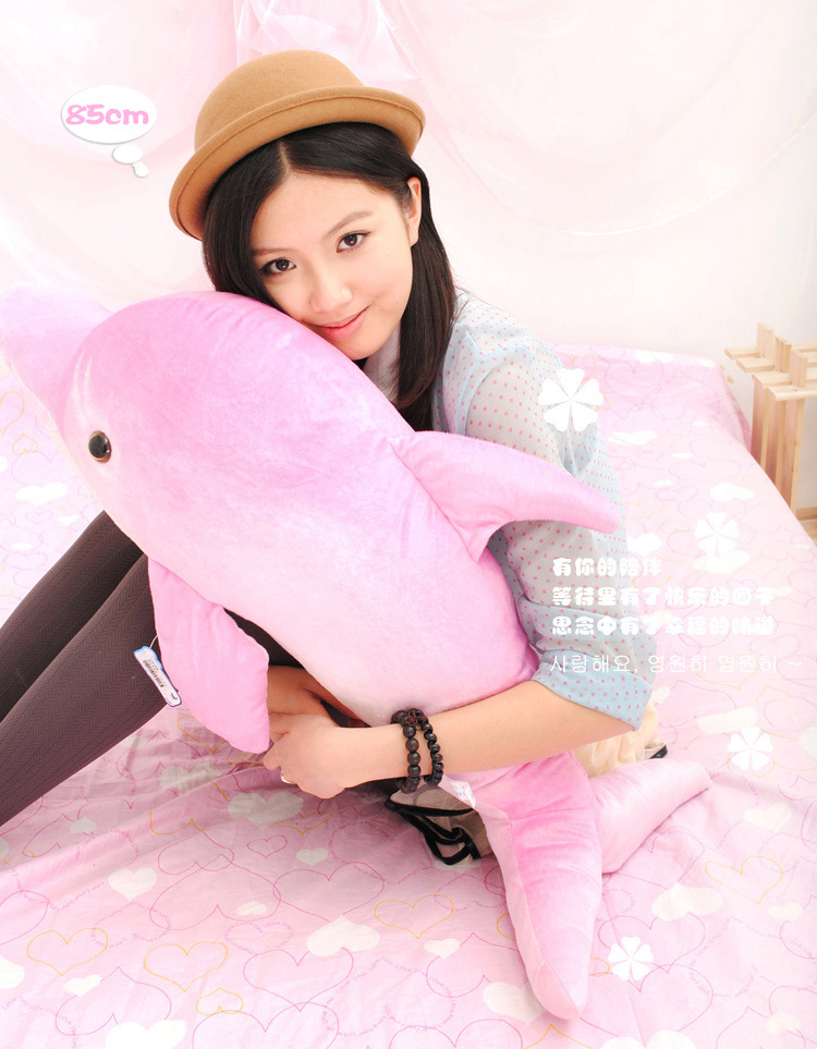 soft lovely plush dolphin toy stuffed pink dolphin pillow birthday gift toy about 85cm
