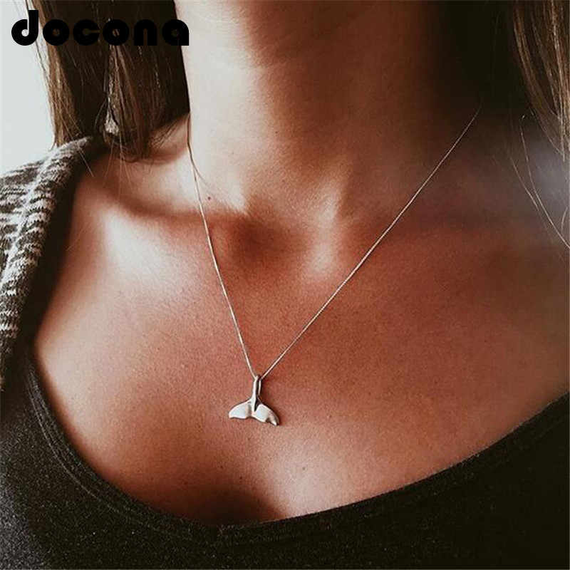 docona Whale Tail Pendant Boho Necklace for Women Dolphin Fishtail Choker Colar Mermaid Silver Necklaces Jewelry Accessories