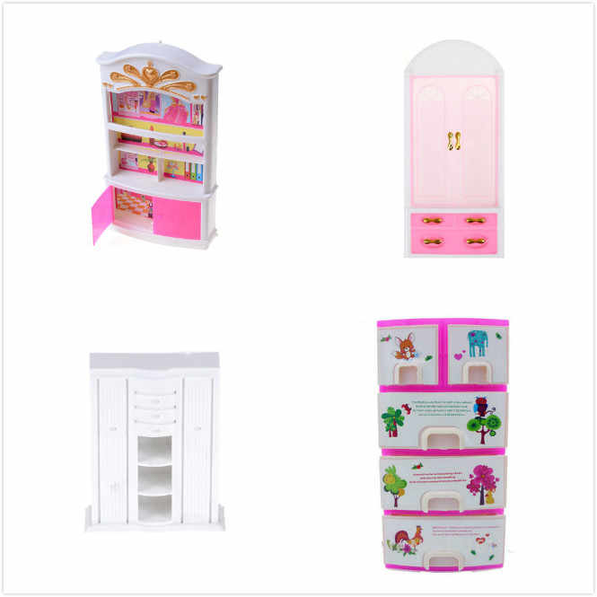 Charmant Doll Accessories Baby Toys Pink White Closet Wardrobe Cabinet For Girl Doll  Girls Princess Bedroom Furniture