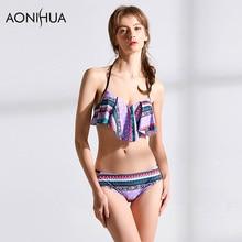 AONIHUA Womens Two Pieces Bikini Crop Top Swimsuit