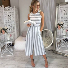 HOT Jumpsuit Summer Women Sleeveless Striped Jumpsuit Casual Clubwear Wide Leg Elegant Pants Outfit Jumpsuit combinai