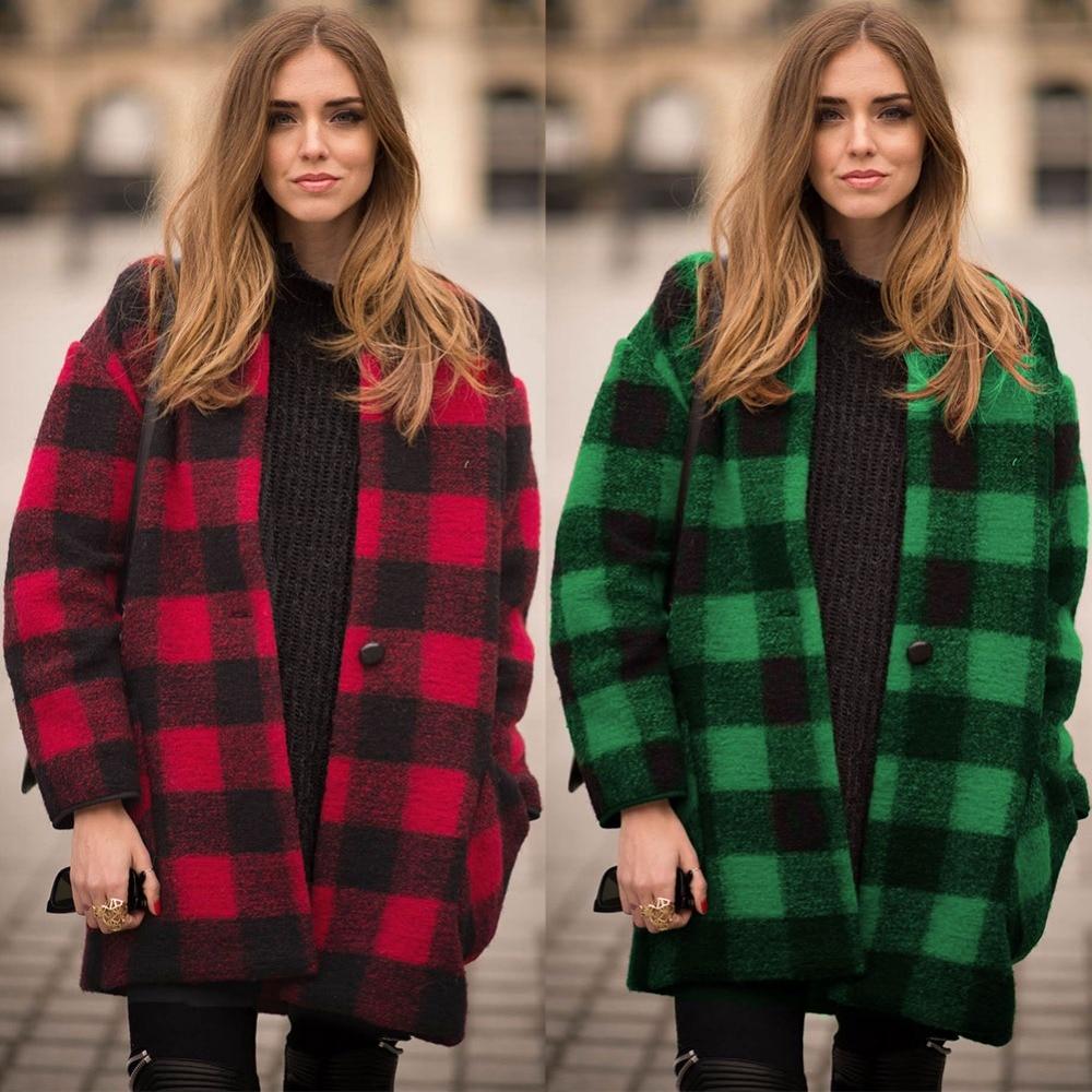 Winter New Fashion Style Woolen font b Tartan b font Classic Overcoat