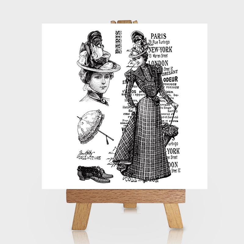 French Paris Dress Lady Clear Stamps for Scrapbooking DIY Silicone Seals Photo Album Emb ...