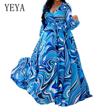 YEYA New Autumn Print Floral Dress Women V Neck Long Sleeves Chiffon Bohemian Dresses Beach Female Wrap Elegant Wear