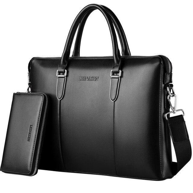 17 Genuine Pu Men Messenger Bags Business Laptop Bag S Briefcase Tote Shoulder