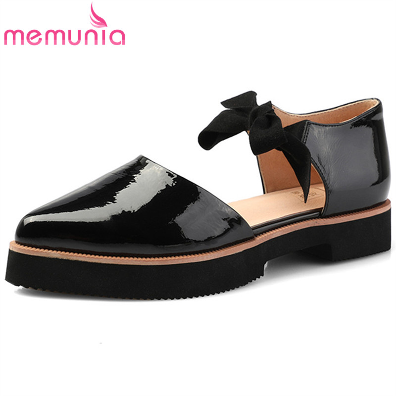 MEMUNIA black fashion 2018 spring autumn flat platform shoes woman pointed toe cross tied casual women genuine leather flats lankarin brand 2017 summer woman pointed toe flats ladies platform fashion rivet buckle strap flat shoes woman plus size