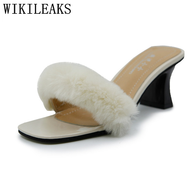 dba04755d62 Fluffy Slippers Women Furry Slides Ladier Sandal Chinelo Inverno