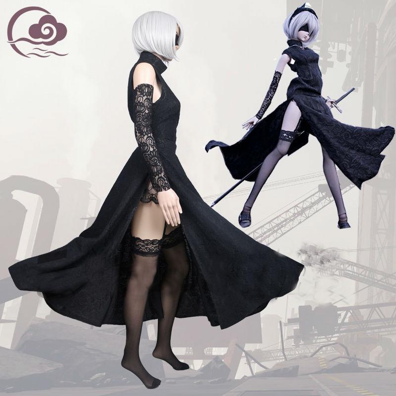 Game NieR:Automata 2B YoRHa Long Cheongsam Qipao Cosplay Costume  Black Dress