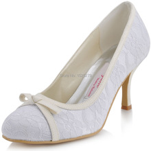 Custom Made EL-029 White Women Bridal Party Prom Pumps Round Toe High Heels Glitter Bowtie Satin Lady Lace Wedding Shoes