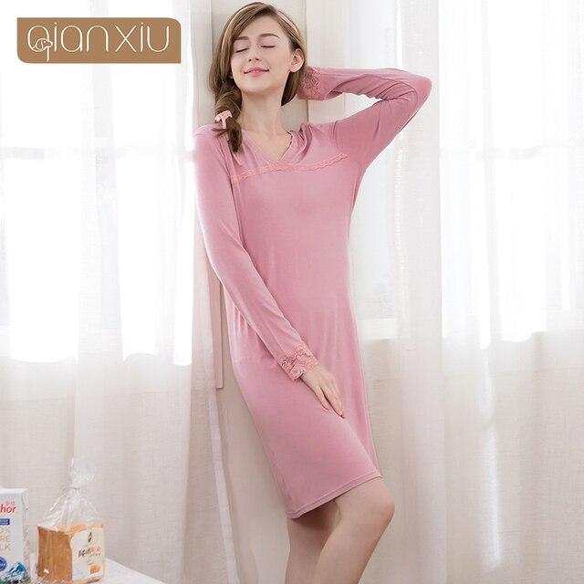 Women Nightgowns Long Sleeve Round Neck Modal Relax Life Nightdress Ladies  Nightshirt Sleepwear Nightwear for Women 1709 94b6c0e5d