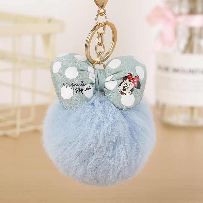 Мики бант с кроличьим меховым шаром брелок милые модные детские плюшевые куклы помпон мягкий пушистый Шарм для девочек подарок для женщин
