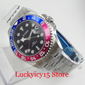 BLIGER Модная функция GMT Автоматические Мужские часы с Авто Дата  сапфировое стекло умный Браслет 40 мм наручные часы