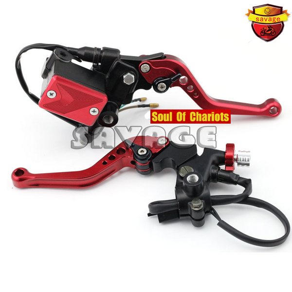For YAMAHA YZF-R 125/150 YBR 125/250 WR 250F/450F ST250 SEROW Motorcycle Clutch Brake Master Cylinder Kit Reservoir Levers Red