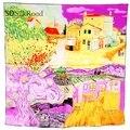 Высокое качество 3 Цветов Площади Шелковый Шарф Женщин Тонкий Срез Шаль Шеи Теплый Искусства Wroks Ван гога Коллекция Живописи