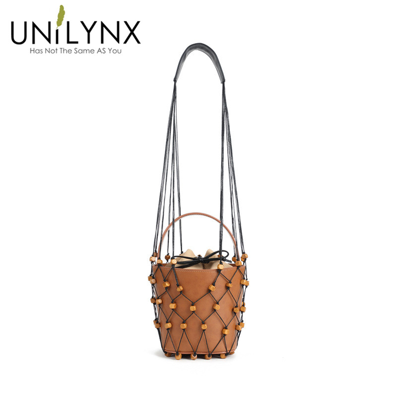 UNILYNX 2018 new style beach bag nets bucket bags women summer totes bag new fashion high quality brown frosting pink color monster high arm wamer pink with black fish nets