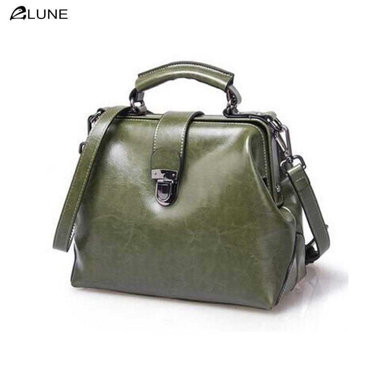 2016 new listing  women oil wax genuine leather fashion bag retro doctor bag shell bag hand diagonal package crossbody bag