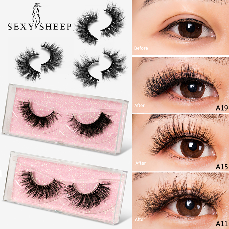 SEXYSHEEP Mink Lashes 3D Mink Eyelashes 100% Cruelty Free Lashes Handmade Reusable Natural Eyelashes Popular False Lashes Makeup