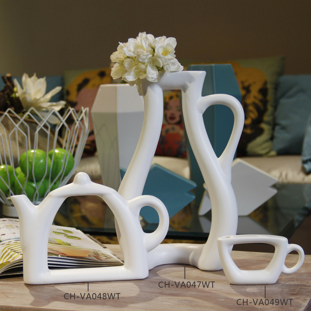 Decorative Vase For Home Decoration Tea Cup Shape Modern White
