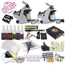 Tattoo Starter Kit 2 Machine Guns 6 Color Inks Supply Set Equipment Dunhuang-1