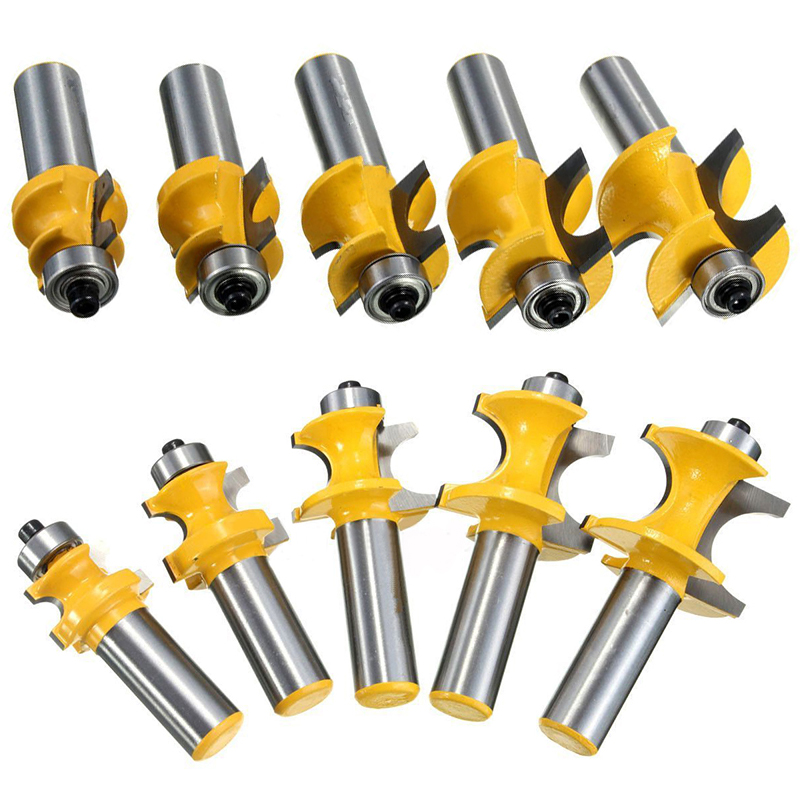 5pcs 1/2 Shank Half Round Tenon Bullnose Router Bit Kits 3/8 5/16 1/4 3/16 1/8 Milling Cutter for Woodworking Router Tools high grade carbide alloy 1 2 shank 2 1 4 dia bottom cleaning router bit woodworking milling cutter for mdf wood 55mm mayitr