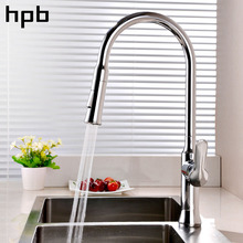 HPB Kitchen Faucet Water Tap Kitchen Faucet Pull Out Faucets Handle Mixer Tap Single Holder Single Hole Chrome Polished HP4110