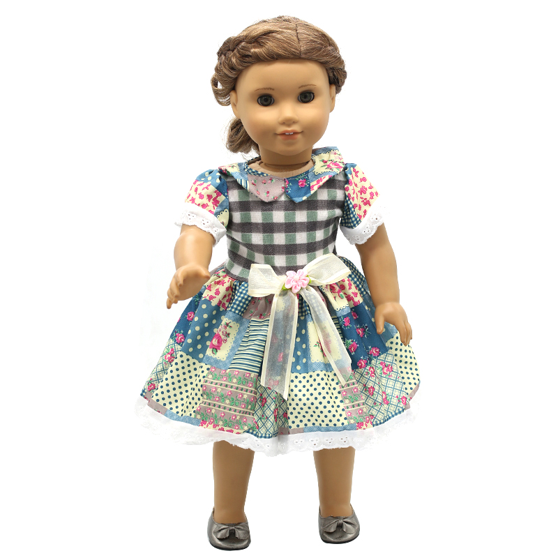 Doll Accessories American Girl Doll Clothes Multicolor Flowers Lace Bow Dress for 16-18 inch Dolls Girl Gift X-7 drop shipping handmad 18 inch american girl doll clothes princess anna dress fits 18 american girl doll mg 032