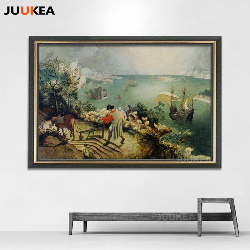 Landscape with the Fall of Icarus by Pieter Bruegel the Elder, Classic Art Canvas Print Painting Poster Wall Pictures Home Decor