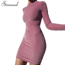 Simenual Half turtlenecks velvet dresses women clothing 2018 long sleeve slim sexy spring dress female soft pink short vestidos