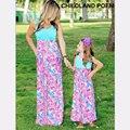 2016 vestido de moda a juego de la familia de madre e hija ropa de verano maxi vestido de mirada de la familia de madre e hija familia trajes a juego