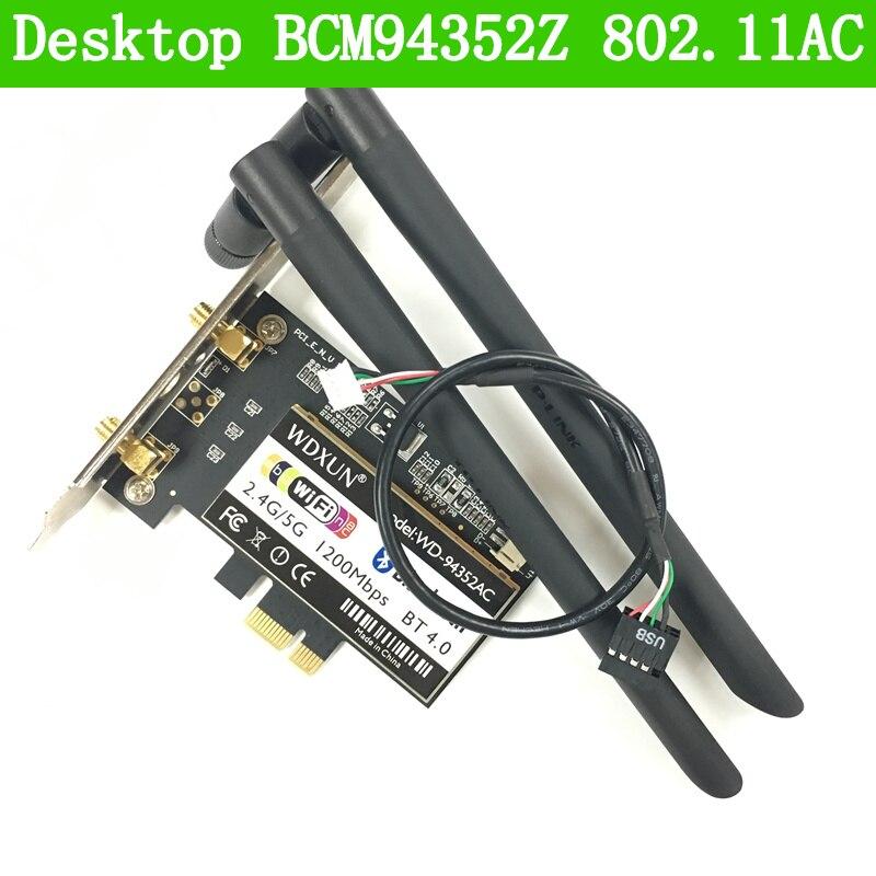 Carte de bureau Wifi 802.11AC Bluetooth 4.0 Broadcom BCM94352Z BCM94352 WLAN WIN7/WIN8/WIN8.1/WIN10/MAC carte réseau sans fil