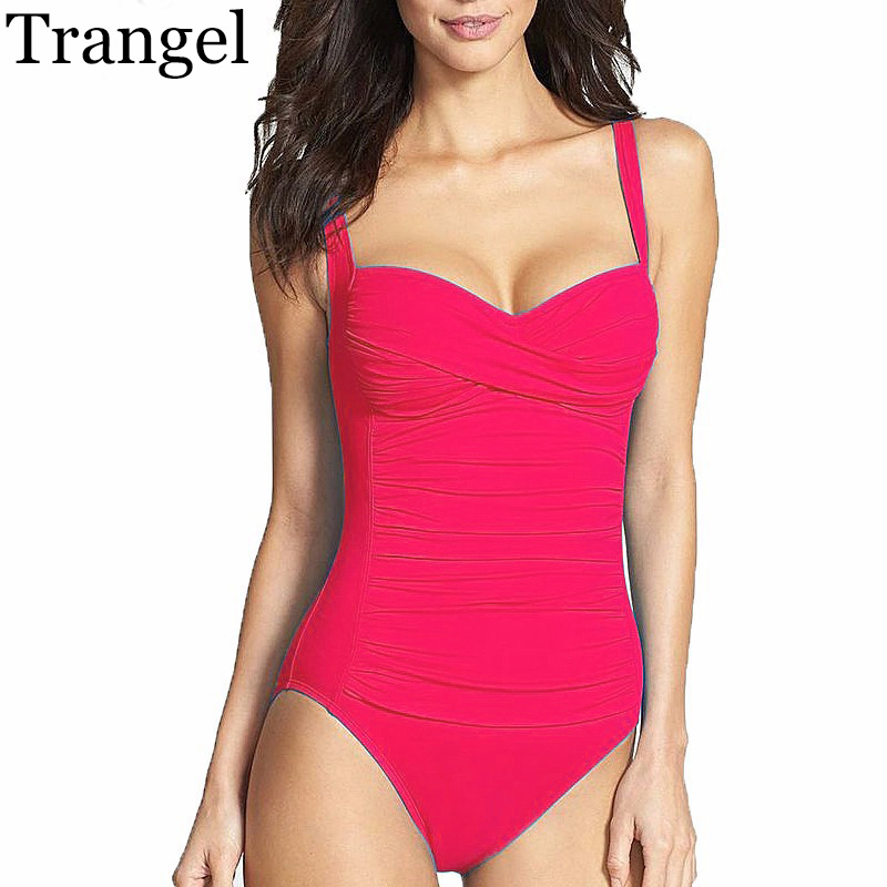 Trangel One Piece Swimsuit Plus Size Swimwear Women 2018 Summer Beachwear Push Up Bathing Suits Retro Swim Wear Monokini plus size swimwear one piece swimsuits sexy women push up padded bikinis floral beach bathing suits push up swim wear monokini