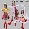 O Novo Estilo Traje De Dança Tibetano Roupas Mangas Trajes Adultos Traje Do Estágio Roupas de Dança do Sexo Feminino