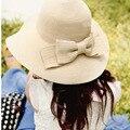 Nueva moda mujeres del sombrero del sol de verano plegable de paja sombreros para mujeres Beach Headwear 3 colores de calidad superior venta al por mayor