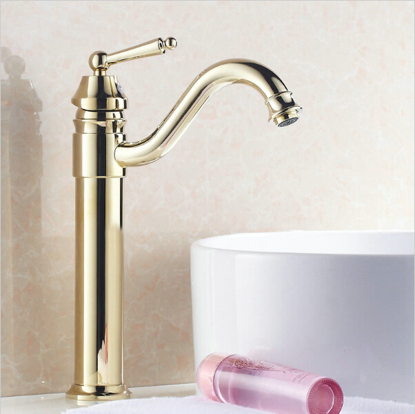 Hot selling gold-plated long mouth luxury single hole deck mounted brass thin tall yellow  basin sink bathroom  faucet G1057Hot selling gold-plated long mouth luxury single hole deck mounted brass thin tall yellow  basin sink bathroom  faucet G1057