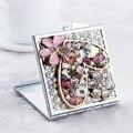 Свадьба невесты подруга подарок, bling crystal rhinestone сердце цветок, Красота макияж компактный карманный мини-зеркало